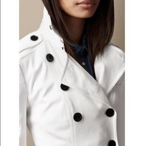 Burberry Jackets & Coats - Burberry White Short Stretchcotton Trench Jacket